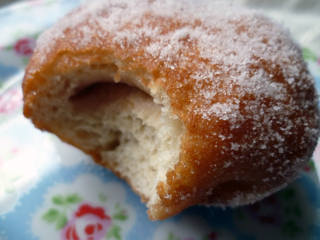 homemade plum jam doughnut