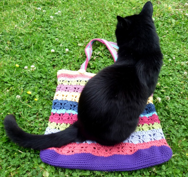 stripy crochet bag and cat