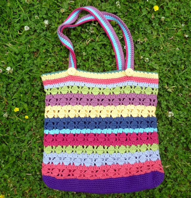 stripy crochet bag