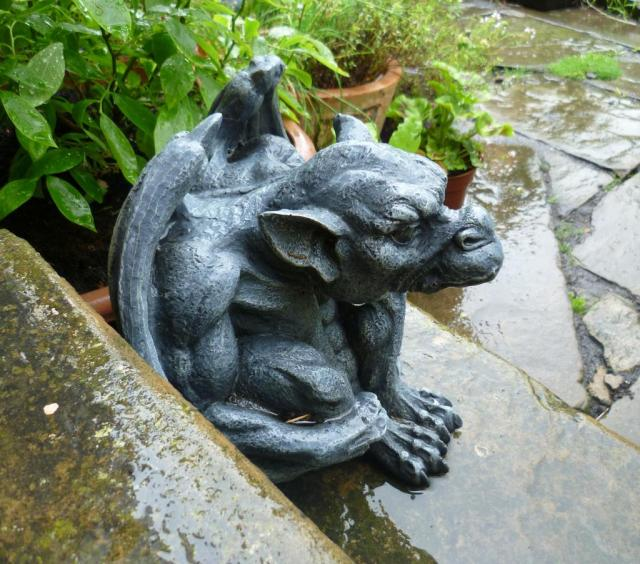 gargoyle in the rain